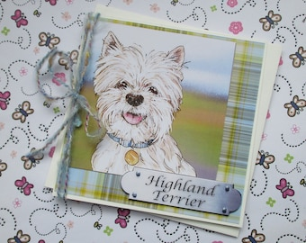 Westie, West Highland Terrier Birthday Greetings Card, All occasion Westie tartan card