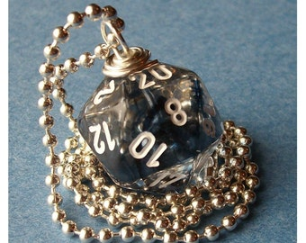 LEGACY D20 Dice Pendant - Dungeons and Dragons - Nebula Blue- Geek Gamer DnD Role Playing RPG
