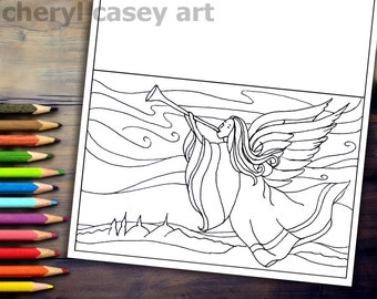 Printable Coloring Page - Angel Christmas Card - Cheryl Casey Art - Digistamp, Digital Stamp