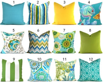 Outdoor Pillow Covers ANY SIZE Outdoor Decorative Pillow Cover Blue Pillow Green Pillows Ikat Pillow Chevron Pillow You Choose