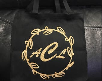 Personalized Black Canvas Tote