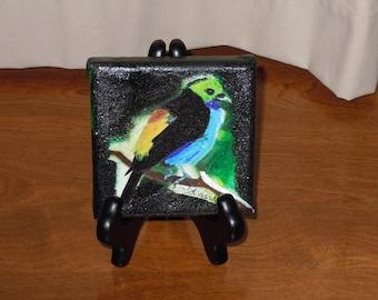 Signed Original Mixed Media of colorful bird.