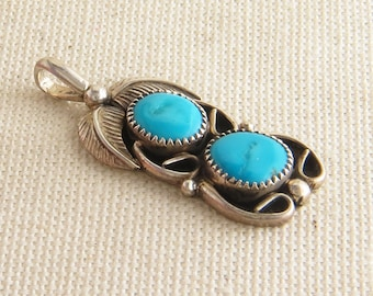 Sterling Silver and Turquoise Necklace, Boho Pendant