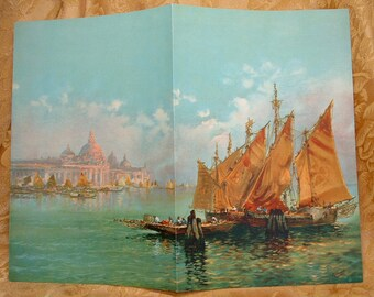 1920s 1930s Lithograph of Merchant Sailing SHips.