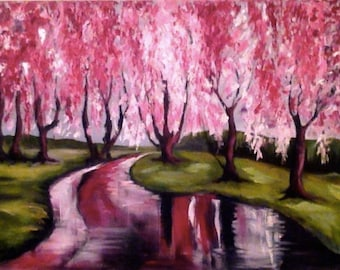 Abstract, Modern painting, Original oil Painting , Blooming Sakura Under The Rain