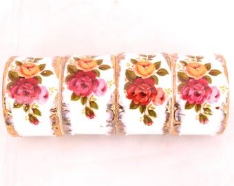 Vintage Bone China Napkin Rings, Set of Cottage Rose Napkin Rings, Wedding Napkin Ring, Serviette Holder, Floral Napkin Rings