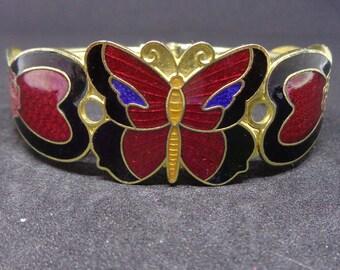 Cloisonne Butterfly Cuff Bracelet/ Free Shipping in the US/Butterfly