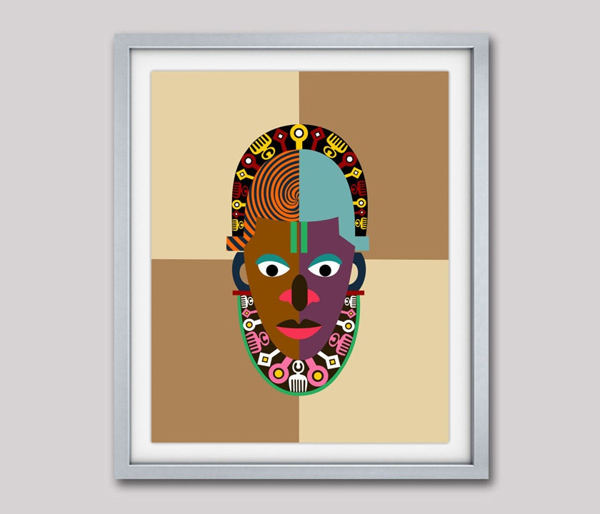 African Mask, Traditional African Art Print, African Decor, Ethnic ...