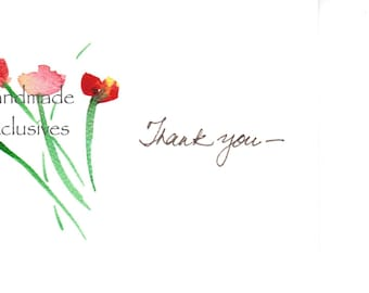 Set of 10, Thank you cards, Floral, Hand painted, Handwritten, Mother's Day, Anniversary, Wedding