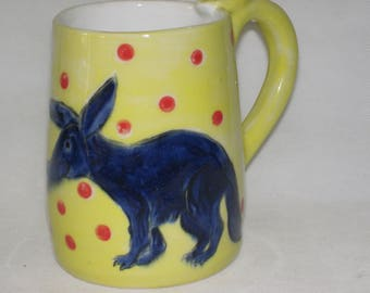 Aardvark Wheel thrown coffee mug cup