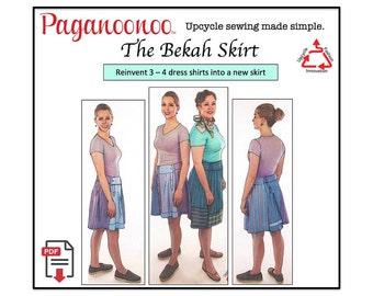 PDF Sewing Pattern - Bekah Skirt - Upcycle Sewing Pattern - Women's skirt from dress shirts! Repurpose clothing, Sewing Pattern. Women, PDF