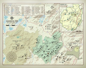 "New York's Adirondack Park & 46 High Peaks 11"" x 14"" elevation table map"