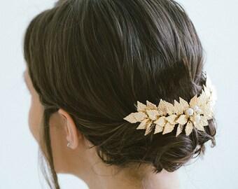Bridal Hair Vine, Gold Leaf Hair Vine, Gold Headband, Gold hair vine, Bride Hair Accessories, Leaf hair vine