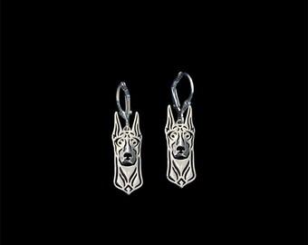 Doberman earrings - sterling silver