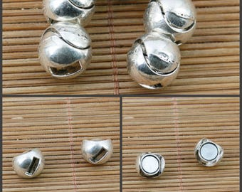 4pcs tibetan silver plated ball shaped magnet clasp EF2394