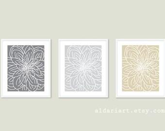 Modern Flower Art Prints - Flower Wall Art Print Set - Spring Decor - Slate Grey  Light Grey Tan Beige