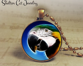 """Parrot Necklace - 1-1/4"""" Circle Pendant or Key Ring - Handmade Wearable Photo Art Jewelry - Nature Art - Parrot in Fractals - Gift"""