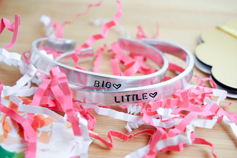 Big Little Sorority Cuff Bracelet Set Big Little Gift Big