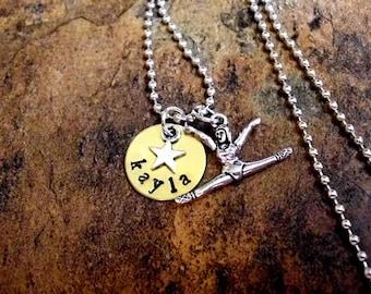 Gymnastics Jewelry, Gymnastics Necklace, Gymnastics Gift, Olympics Sports Jewelry, Hand Stamped Jewelr