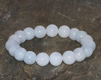 10mm Blue Calcite Bracelet, Natural Blue Gemstone Bracelet, Healing Crystals, Yoga Gemstone Bracelet, Handmade Jewelry, Wrist Mala Beads