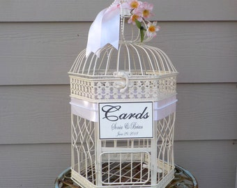 Large Ivory Bird Cage Wedding Card Holder, Wedding Money Holder, Flowers, Pearls, Personalized Colors, Text, Ribbon, Wedding Card Box