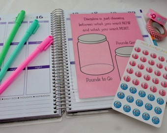 Weight Loss Dashboard for Erin Conden Life Planner Pounds Tracker Mason Jars Marbles Marble Stickers Pounds Lost