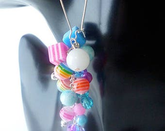 Single Mixed Glass and Acrylic Bead Cluster Statement Earring.