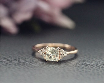 5.5mm Charles & Colvard Princess Moissanite Ring, CC Forever Classic Stone Ring,  Engagement Ring, Solid 14K Rose Gold Ring,Diamonds Paved