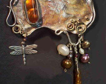 SALE ~ DRAGONFLY Brooch, Sterling, Fire Agate, pearls, signed by L. Beers Aydlott