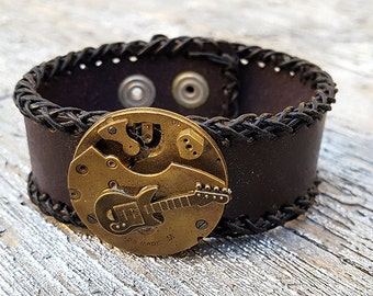 Steampunk Guitar Leather Cuff Bracelet -Watch parts Vintage Bracelets-Wristband cuffs- Amazing Girlfriend Ladies Music teacher gift