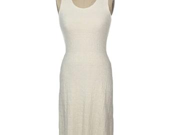 vintage cotton knit dress / 100% cotton / off white ivory cream / San Cristobal / minimalist dress / women's vintage dress / tag size small