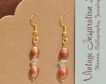Gold Hand Wired Copper Colored Glass Bead Earrings