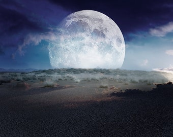 Fine Art Photography Print. Landscape, planet, modern, moon, desert, colour, photo manipulation, contemporary art