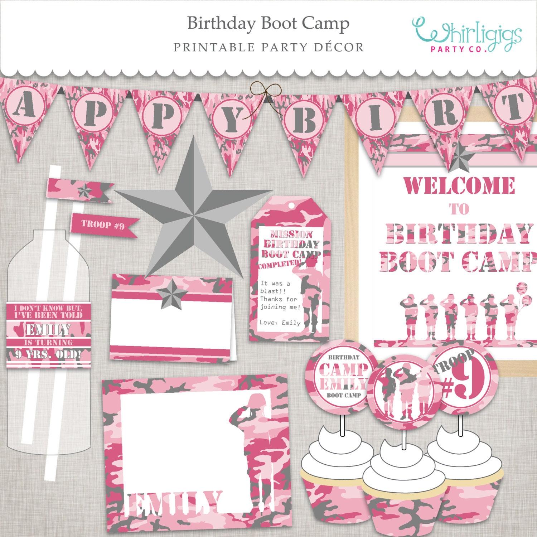 Birthday BootCamp Pink Army Printable Party Custom PDF files