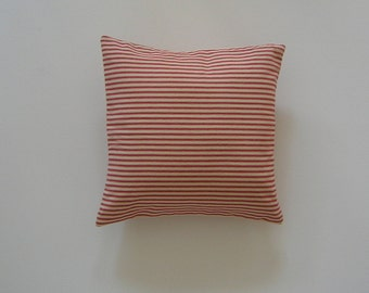 Ticking Striped 14x14 Pillow Cover Red Stripes On Cream Background