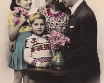 Vintage 1950 old French family postcard