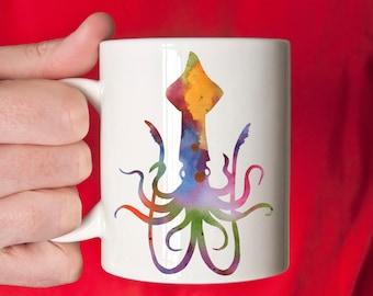 Squid Mug - Squid Lover Gift - Colorful Squid Watercolor Art Mug - Squid Coffee Mug - Unique Squid Gifts