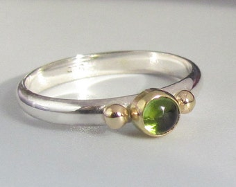 Peridot Ring In Gold And Sterling Silver. Mixed Metal Stacking ring
