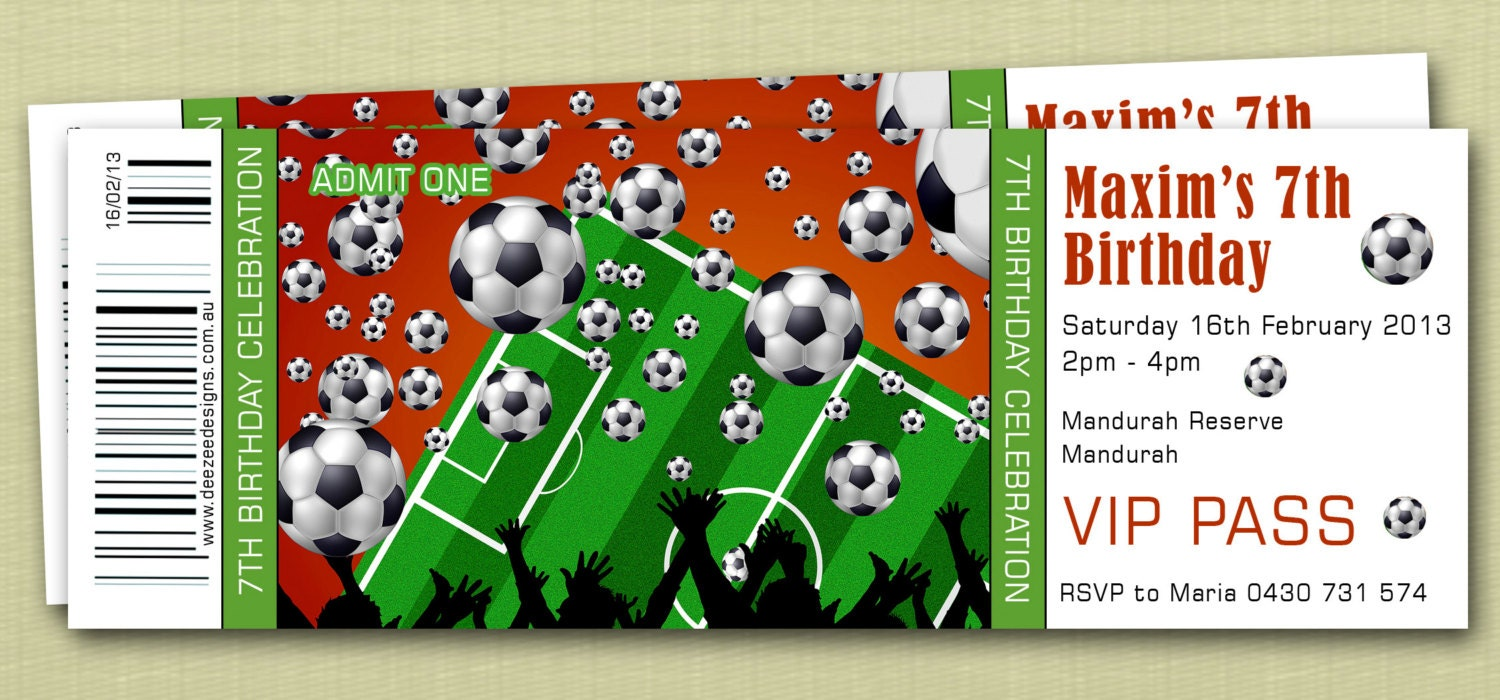 Style Sports Soccer Birthday Invitations You Print