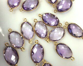 Sold by piece natural pink amethyst checker both sides 8x12 mm vermeil gold