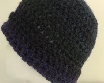 Purple Beanie Purple Beanie Hat Purple Crocheted Hat Purple Winter Hat