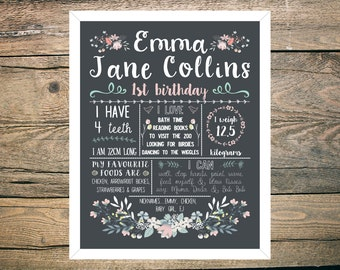 First Birthday Chalkboard Sign Poster - Girl - Digital / Printable - Pretty Pastel Floral watercolour theme