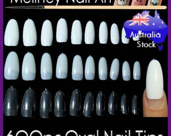 600pc Oval Nail Tips Half Cover False fake Nails French Tips Round Shape Manicure Extra Long Artificial Meliney