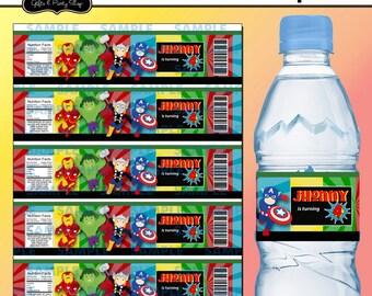 Blank Superheroes Water label,Superheroes Party,Superheroes Favors,Superheroes labels, Printable Water labels,Superheroes,Customized labels