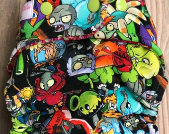 Plants vs Zombies Hybrid Fitted Cloth Diaper