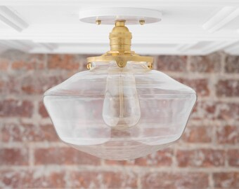 Schoolhouse Lighting - Modern Ceiling Lamp - Schoolhouse Fixture - Brass Light - Hardwired Lights