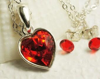 Swarowski Crystal Red Heart Pendant Silver Jewelry Red Stud Earrings