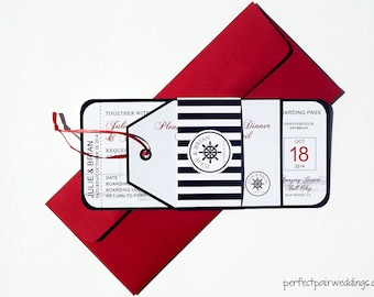 Nautical Boarding Pass Style Wedding Invitation and Tag Style RSVP card with Belly Band