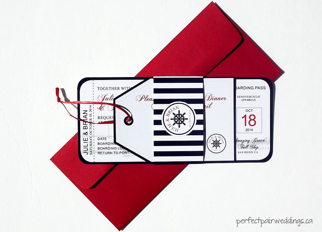 Nautical Boarding Pass Style Wedding Invitation and Tag Style