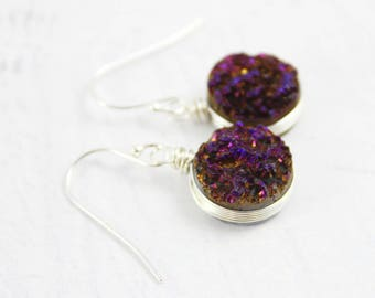 Silver Druzy Earrings, Druzy Geode Earrings, Dark Purple Earrings, Wire Wrap Earrings, Purple Drop Earrings, Sterling Silver Earrings